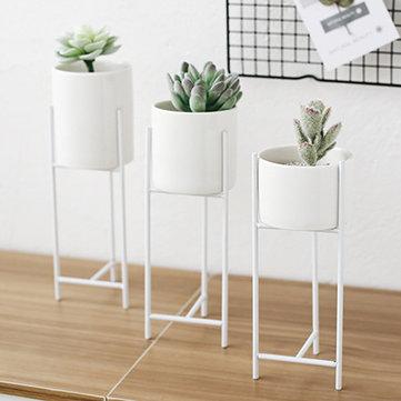 Metal Rack Ceramic Succulent Plant Container Pot Flower Planter Garden Decor Decorative