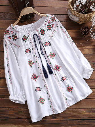 Women Flower Embroidered Off Shoulder Elastic Loose Blouse