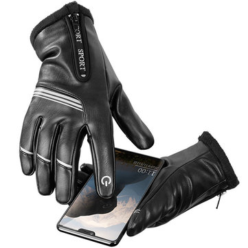Motorcycle Winter Gloves Warm Leather Touch Screen Driving Waterproof Soft Lining