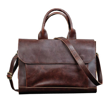 Men Shoulder Handbag Business Computer Briefcase Casual Multi-Function PU Bag