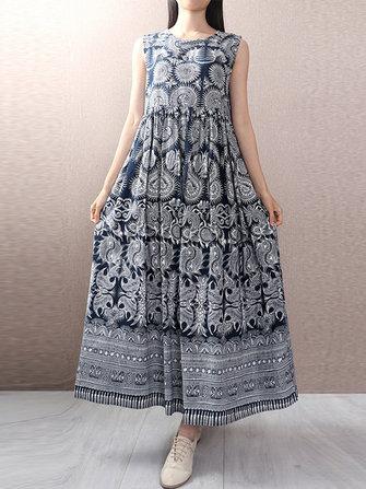 Women Boho Floral Printed Sleeveless Maxi Dress