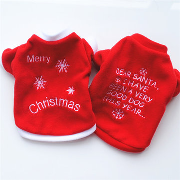 Christmas Pet Dog Cat Winter Clothes Warm Pullover Embroidered Outfit Coat Costume For Puppy Dogs