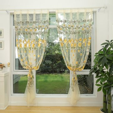 Honana WX-C10 Fashion Transparent Tulle Curtains Window Screen Decor Living Room Colorful Sheer Curtain