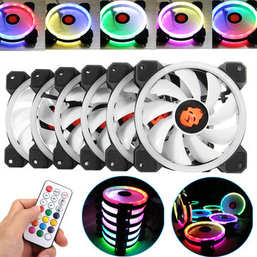 Coolmoon 6PCS 120mm Adjustable RGB LED Light Computer PC Case Cooling Fan with IR Remote