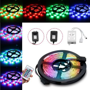 DC12V 24W 2A 5M Waterproof SMD3528 RGB LED Strip Lights US EU Power Adapter + 24 Keys Remote Control