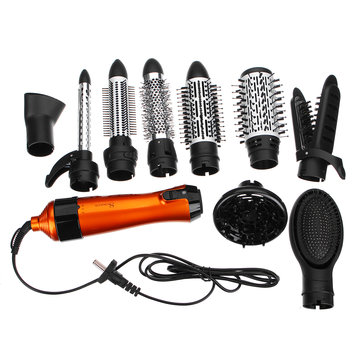 SURKER 1000W 220V-240V 10 in 1 Hair Styling Brush Comb Dryer Curler Straightener Hot Cool Air Styling Kit