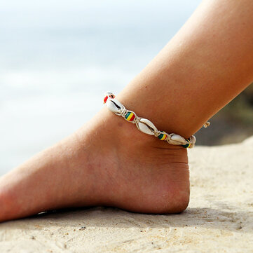Sweet Colorful Wood Beads Shell Anklet Cute Anklet for Women