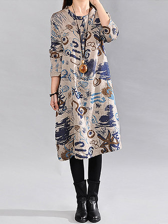 Plus Size Women Casual Dress Irregular Print Side Pockets Long Sleeve Mid Calf Dresses