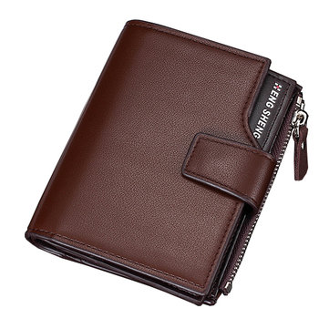 14 Card Slots Men PU Leather Minimalist Vertical Wallet Casual Business Tri-fold Wallet Card Holder