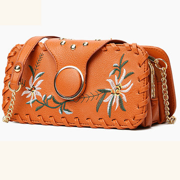 Women PU Leather Embroidery Crossbody Handbag Multi-pocket Purse Phone Bag Crossbody Bag