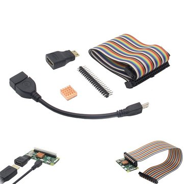 5-in-1 GPIO Cable + USB OTG Cable + Mini HDMI to HDMI Adapter + 2x20 Pin Header + Heat Sink Base Kit For Raspberry Pi Zero / Raspberry Pi Zero W.