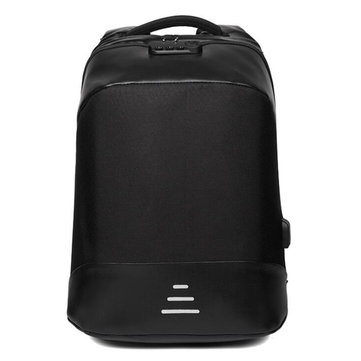 15.6 Inch Anti-theft Backpack Business School Laptop Bag Password Lock+USB Charge+Earphone Hole