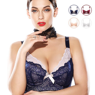 Plus Size Wire Support Ultra-thin Lace Adjusted Bras