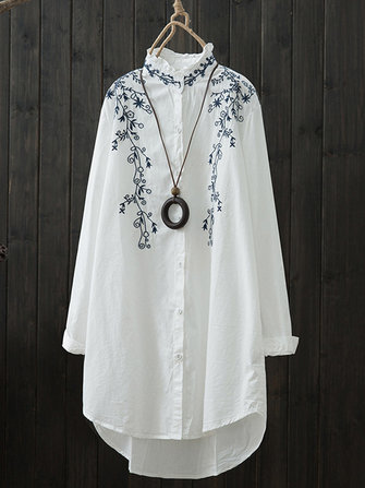 Flower Embroidery Loose Casual Blouse