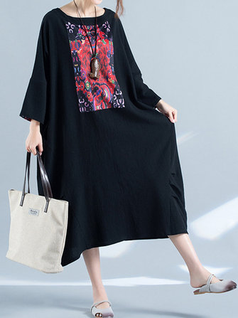 Casual Women Printed Patchwork Round Neck Baggy Dress