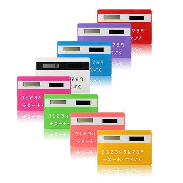 Colorful Small Slim Pocket Calculator Solar Power Stationery Card Portable Calculator Mini Handheld Ultra Thin Card Calculator