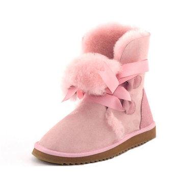 Mg donne nuovo inverno della pelle di pecora scarpe basse lana tacco basso tenere a metà polpaccio stivali caldi stivali da neve