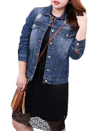 Plus Size Casual Women Hole Denim Jacket