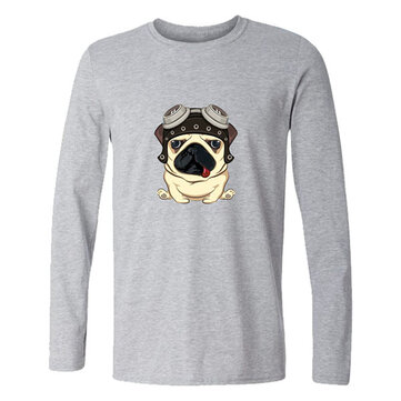 Funny Pug 3D Printed Long Sleeve Pure Cotton T-shirts Casual Blouses For Men