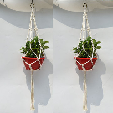 4 Legs Hand Knitting Cotton a Flower Pot Holder Hanging Basket Flower Plant Hanger Rope Hand Knitting Cotton and Hemp Rope Plant Hanger Flower Pot Hanging As House Office Ornament Garden Park Outdoor