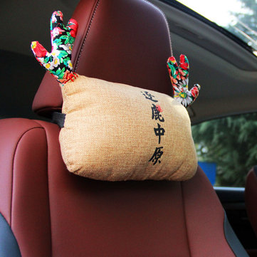 WenTongZi Car Lovely Cartoon Deer Head Rest Car Front Seat Head Rest Pillow