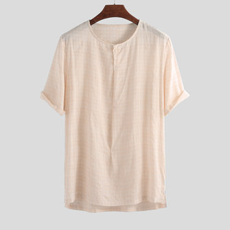 Mens 100% Cotton Crew Neck Breathable Loose Comfy Solid Color Casual T-Shirts