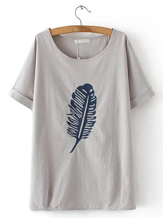 Plus Size Women Leaf Printed O-Neck Short Sleeve T-Shirt