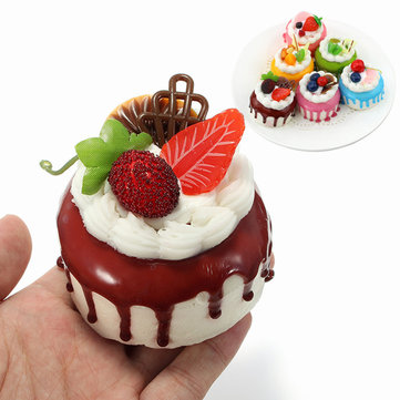 Squishy Cream Fruit Cake 7cm Sweet Soft Slow Rising Fridge Magnet Decor Collection Gift Toy