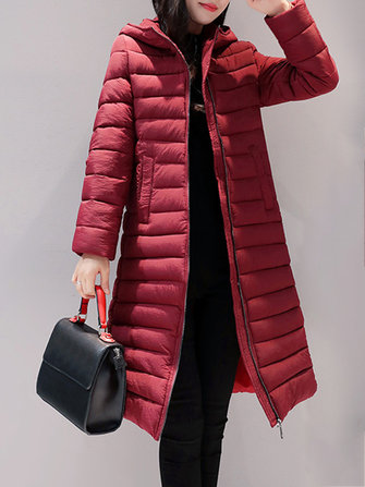 Casual Pure Color Zipper Long Sleeve Hooded Women Down Coats