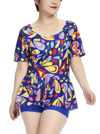 2XL-6XL Multi-pattern Flower Printed Short Sleeves Tankinis Swimsuit Two Piece