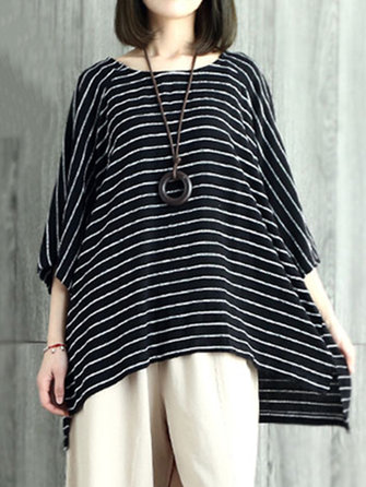 Women O-neck Batwing Sleeves Stripe Loose Blouse
