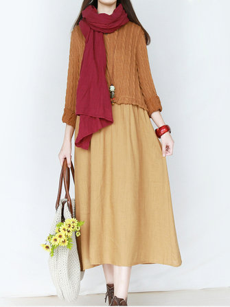 Mori Girl Vintage Long Sleeve O-Neck Patchwork Maxi Dress
