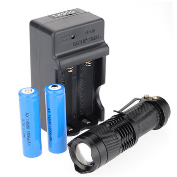 Q5 300LM Zoomable Mini LED Flashlight Suit Set With 14500 + Charger
