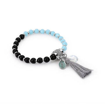 Stylish Womens Blue Black Beaded Bracelet Love Charm Adjustable Tassel Bracelets Gift for Women