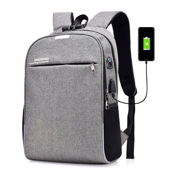 Anti-theft Men Laptop Notebook Backpack USB Charging Port School Bag With Password Lock