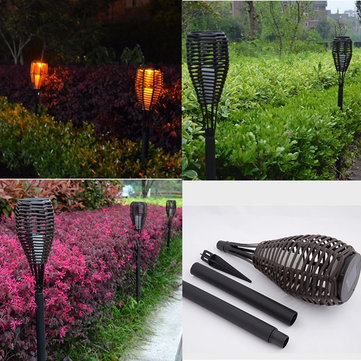 Outdoor Waterproof LED Solar Rattan Torch Light Landscape Lamp for Courtyard Lawn Garden