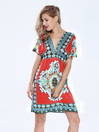 Sexy Women Bohemian Drawstring Deep V Neck Printed Beach Dress