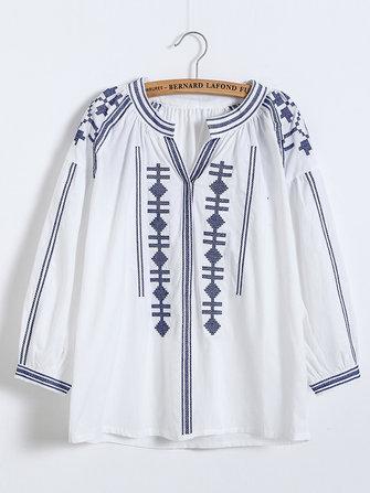 Vintage Women Ethnic Embroidered Long Sleeve V-Neck Blouse