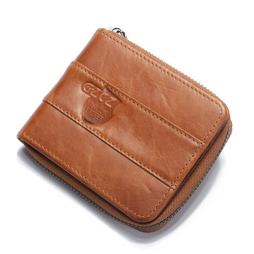 GZCZ Men RFID Blocking Wallet Genuine Leather Coin Bag