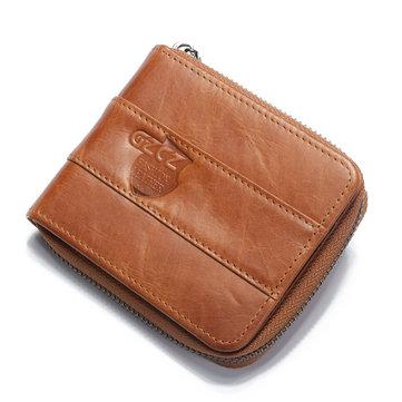 GZCZ Men RFID Blocking Wallet Vintage Genuine Leather 11 Card Slots Coin Bag