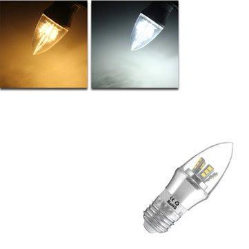 E27/E14/E12/B22/B15 6W LED Warm White/White 25SMD 2835 Silver Candle Light Bulb Lamp 85-265V