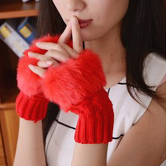 Women Winter Warm Knitted Thicken Fingerless Gloves Artificial Rabbit Hair Half Finger Sleeve
