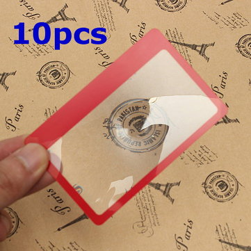 10Pcs 3X Magnification Loupe Lens Mini Credit Card Size