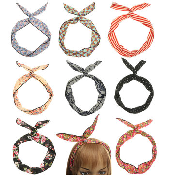 Retro Flower Stripes Hair Band Ribbon Rabbit Ears Headbrand Accessories