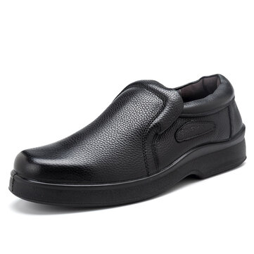Men Casual Soft Genuine Leather Slip On Oxfords Leather Business Shoes