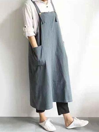 Women Cotton Linen Solid Color Strap Apron Dress with Pocket