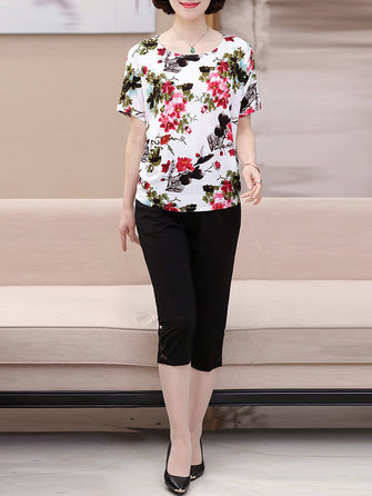 Plus Size Women Elegant O-neck Chiffon Suit