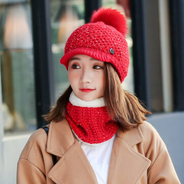 Women Girls Winter Wool Knit Peaked Hat Beret Plus Neck Warmer Casual Outdoor Cycling Cap