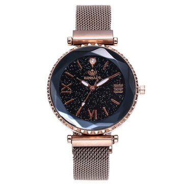 Woman Mesh Magnet Buckle Starry Sky Watch Casual Women Geometric Surface Quartz Watch