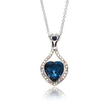 JASSY® Platinum plaqué Coeur de cristal d'océan Collier brillant strass coloré pour femmes